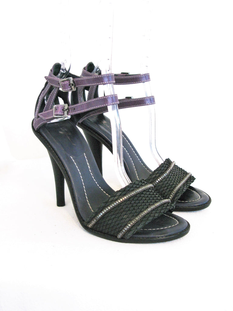 7 For All Mankind Cage Cone Heel Strappy Snakeskin Sandal 8.5 - ruby & sofia