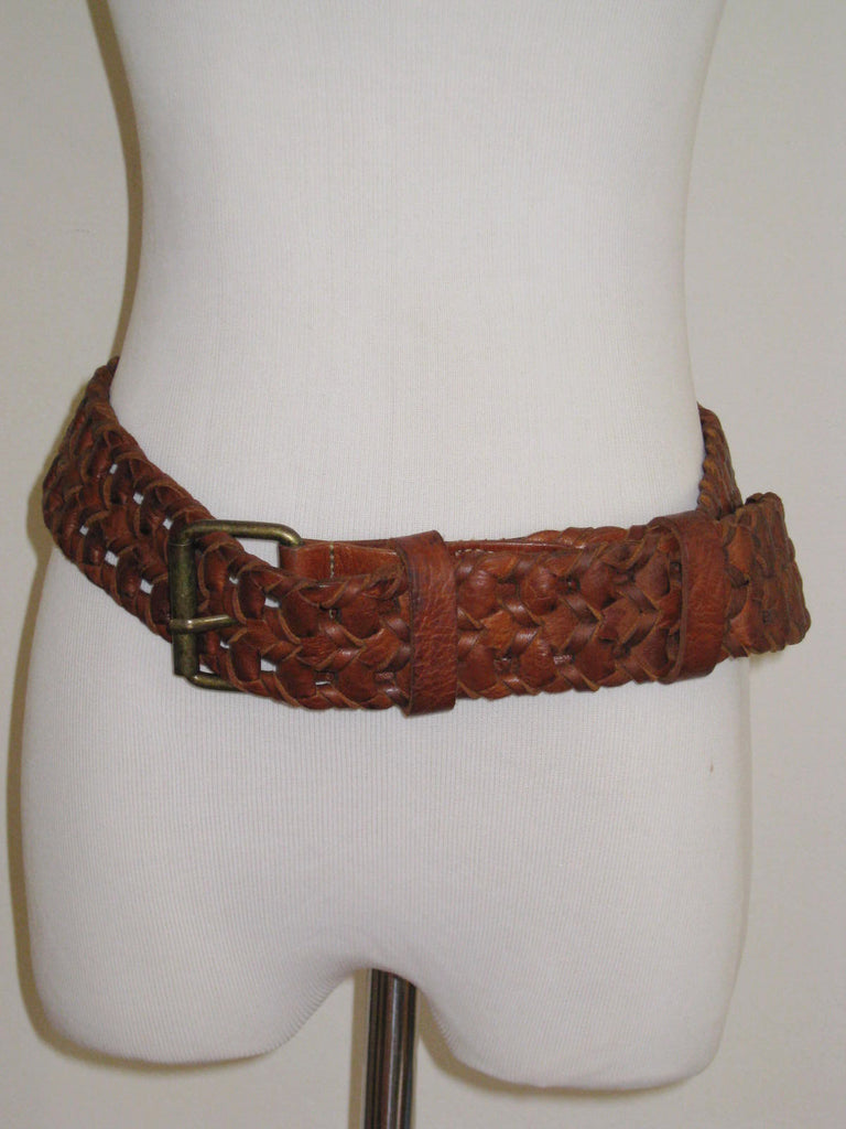 "Soussan Designs 2"" Leather Woven Belt M/L - ruby & sofia"
