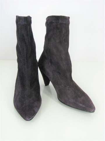 Robert Clergerie Aubergine Suede Stretch Ankle Boots 6.5 NWOB