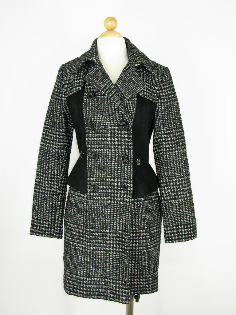 Betsey Johnson Houndstooth Princess Cut Wool Overcoat 2