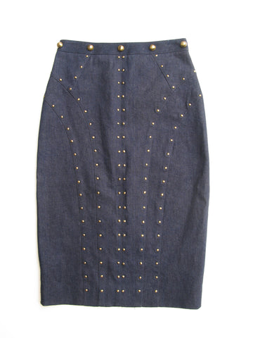 Tamara Mellon Studded Denim Pencil Skirt 4
