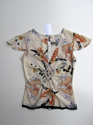 Shoshanna Silk Asian Print Flutter Sleeve Blouse XS - In Love!