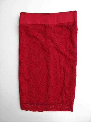 2B Bebe Red Lace Pencil Skirt XS NWOT