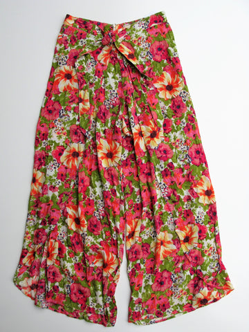 Forever 21 Floral Split Leg Tie Front Palazzo Pants S NWT