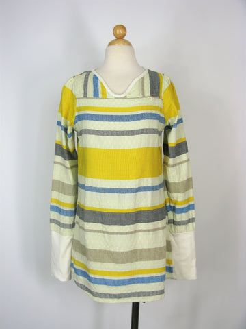 Dress Tunic Cover-up Ace & Jig Long Sleeve Striped Woven Linen Tunic S / M