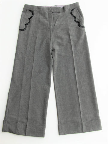 Stella McCartney Italy Houndstooth Wide Leg Ankle Length Trousers 46 10-12
