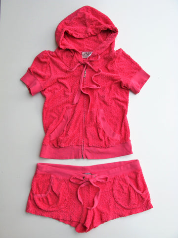 Juicy Couture Heart Shape French Terry Hoodie & Shorts Lounge Set XL