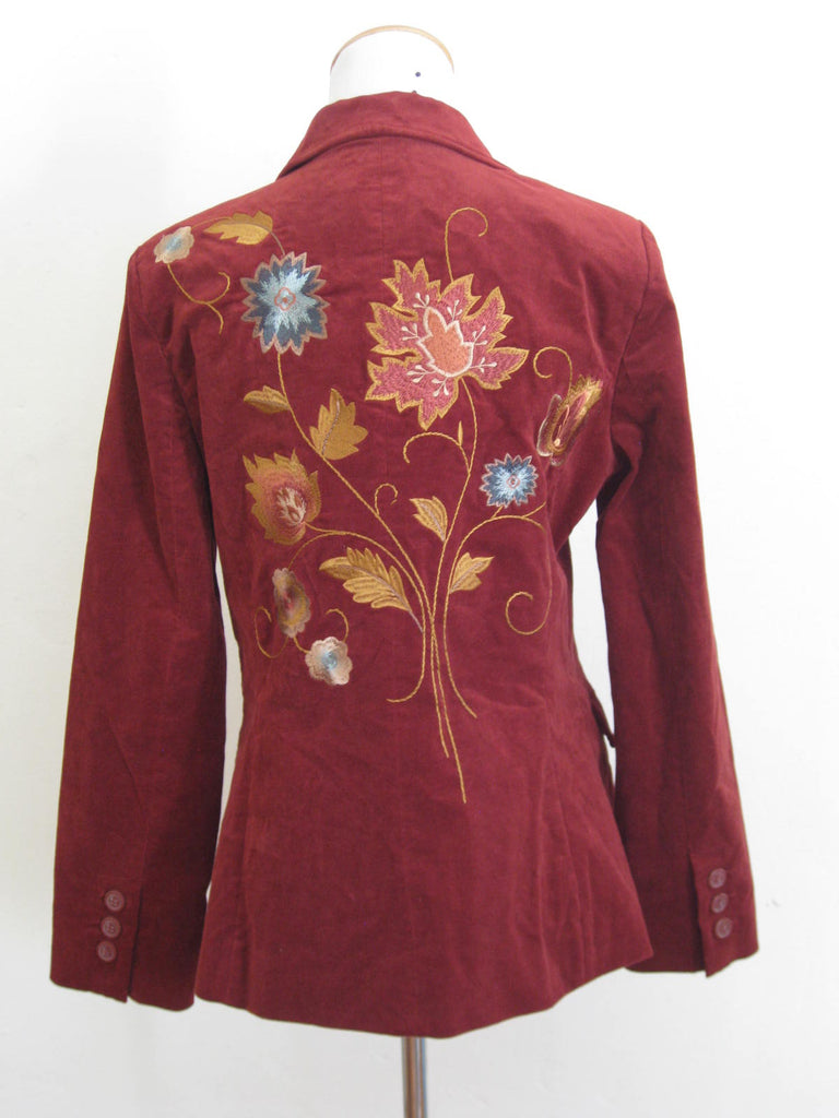 Cabi Ruby Velvet Embroidered Jacket 8 NWT - ruby & sofia