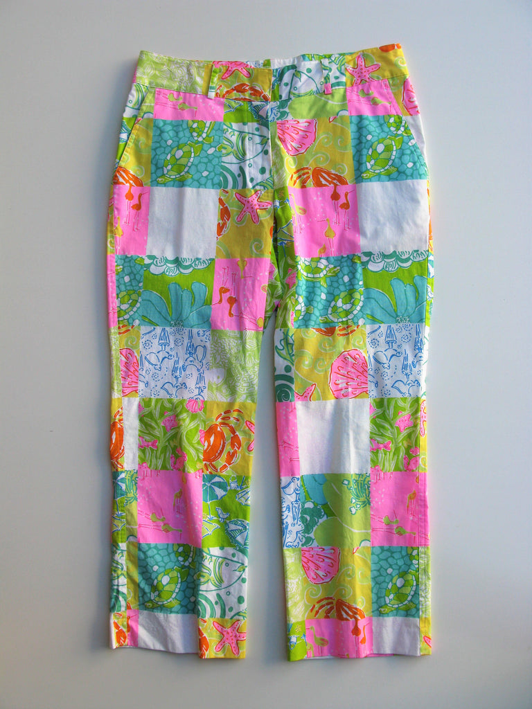 Lilly Pulitzer Seashore Patchwork Print Cotton Capri Pants 6