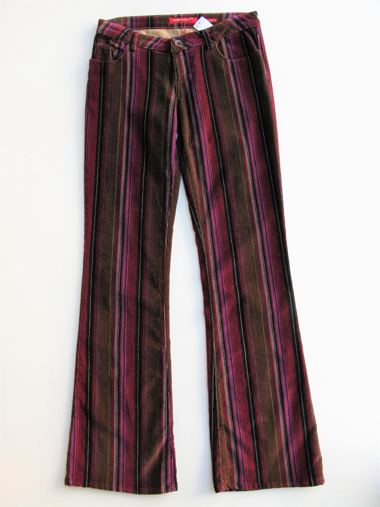 Miss Sixty Extra Low Ty Striped 60's Flare Cords 28/30 NWOT