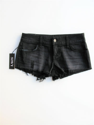 SIWY 'Camilla' Low Rise Cut-off Short Shorts in It's Magic (Black) Wash 25 NWT