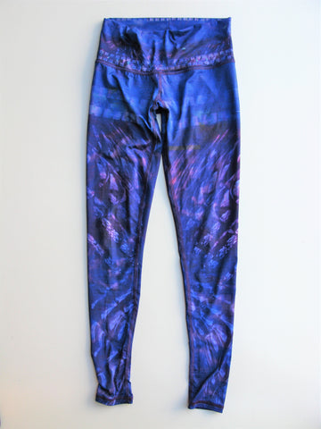 Arteshbod Abstract Purple Printed Hot Yoga Workout Leggings XS