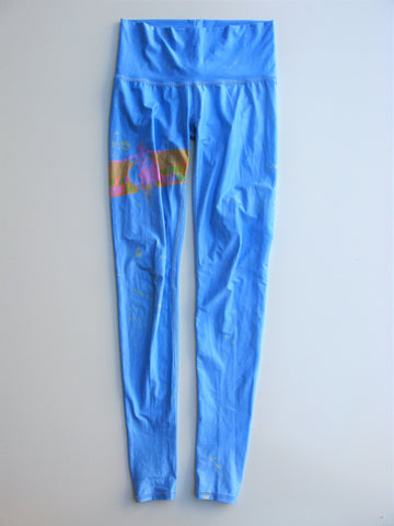 Teeki Rainbow Priestess Blue Hot Pant Yoga Workout Leggings XS