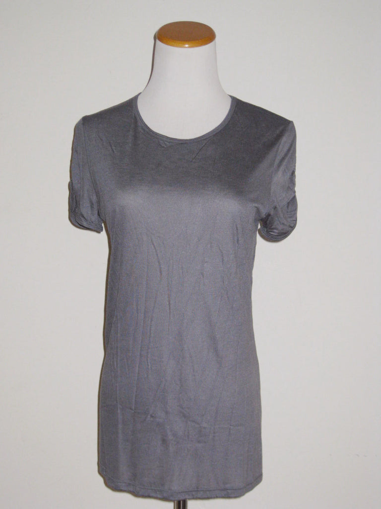 Zara Collection Mercerized Ruched Sleeved T-Shirt L - ruby & sofia
