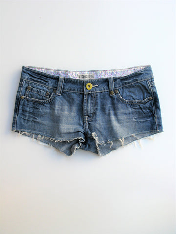 Zara TRF Denim Rules Cut-off Cheeky Jean Short Shorts  8