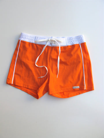 Sauvage Retro Lycra Orange & White Football Tie Swimmer Trunks M