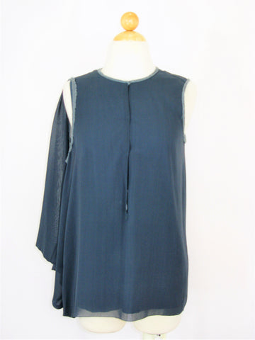 Nicole Miller Asymmetric Sleeveless Shoulder Drape Raw Edge Silk Tunic Top P