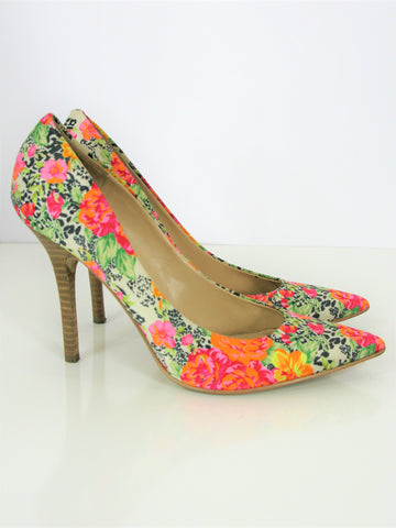 Guess Plasmas 3 Floral Stacked Heel Pointy Pump 7