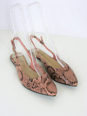 Topshop Vixen Python Print Slingback Pointy Flats in Pink 38/7.5