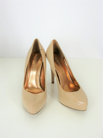 BCBGeneration Nude Beige Patent Pinch Toe Platform Pumps 7