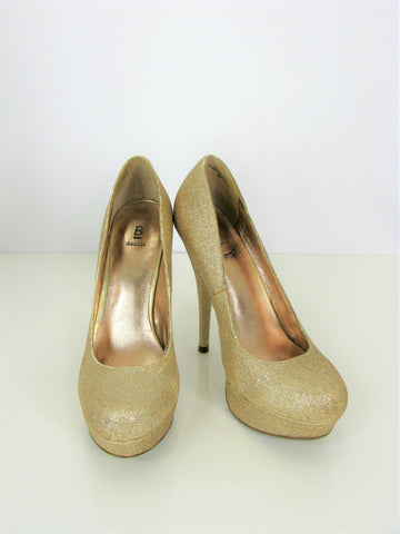 Bakers Victoria G Gold Sparkle Glitter Platform Stiletto Pumps 8