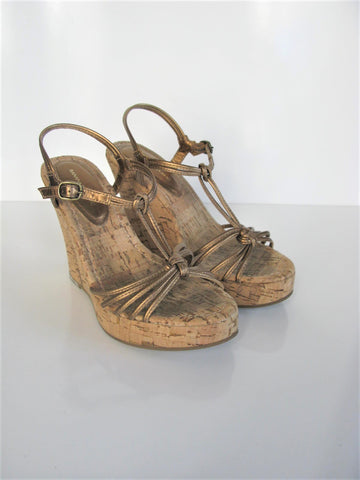 Strappy Cork Wedge Sandals BANANA REPUBLIC Bronze Platform Sandals 5.5