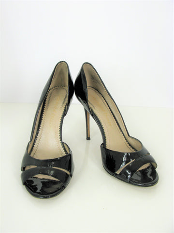 Jean-Michel Cazabat 'Olina' d'Orsay Patent Leather Peep-toe Pumps 38.5