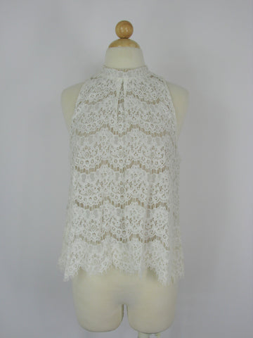 love, FIRE Cream Lace Sleeveless Tunic Top M