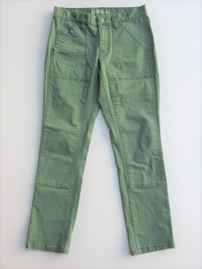 Capri Military Skinny Pants Cargo Ankle Pants FOSSIL Army Green Skinny Pants 2