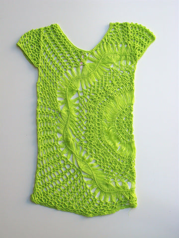 36Point5 Lime Green Crochet Tunic Cover-up M NWOT