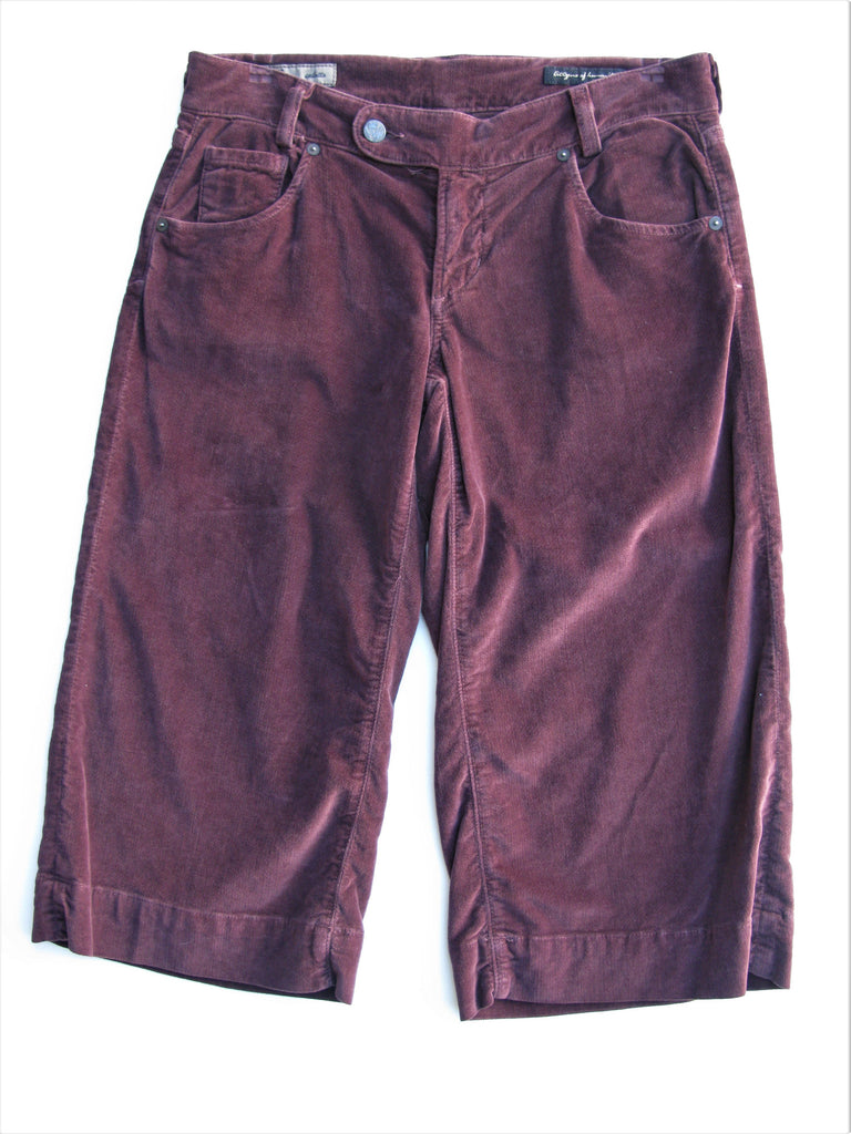 Citizens of Humanity Burgundy Velvet 'Lily' Stretch Culotte 28