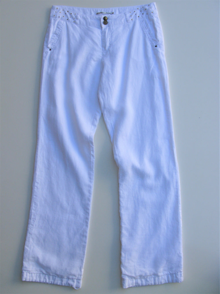 French Label DDP White Linen Trouser Pants 30/40 L