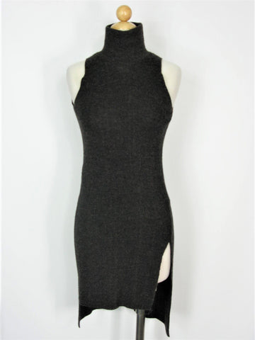 Long Wool Alpaca Tunic Sleeveless Asymmetric Zara Knit Italian Yarn Slit Side Sweater