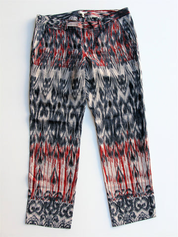 Joie Ikat Print Silk Tapered Trouser Pants 6