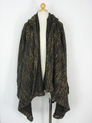 Draped Hooded Cardigan MARIA SEVERYAN Chunky Wool Knit Sweater Coat  S/M