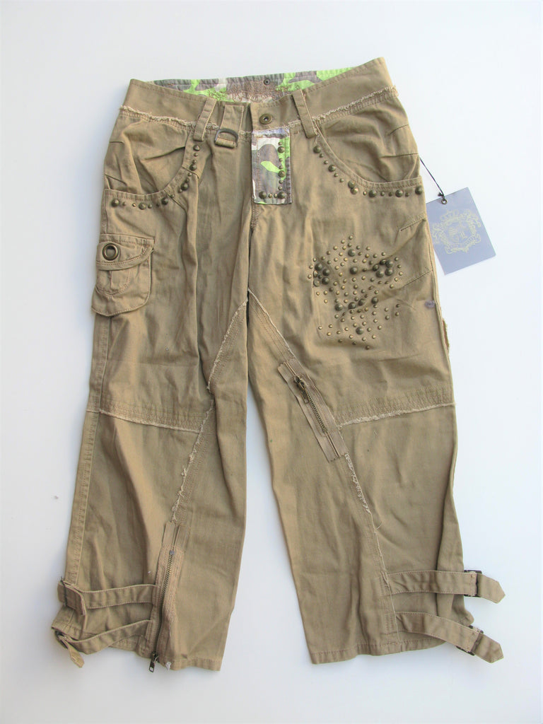 Sugar Lips Studded Cargo Capri Pants S NWT