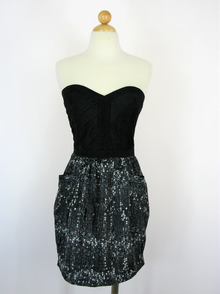 Sugar Lips Strapless Quilted Bustier & Tulip Pocket Skirt Dress