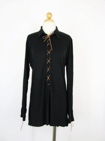 Odd Molly Lace-up Jersey Knit Henley Tunic Shirt Dress 4/6