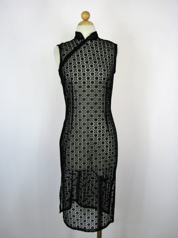Sheer Black Lace Crochet Sleeveless Classic Mandarin Collar Dress 4/6