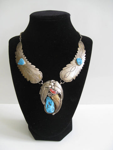 Vintage Native American Navajo Signed Sterling Silver, Turqoise, & Red Coral Feather Necklace