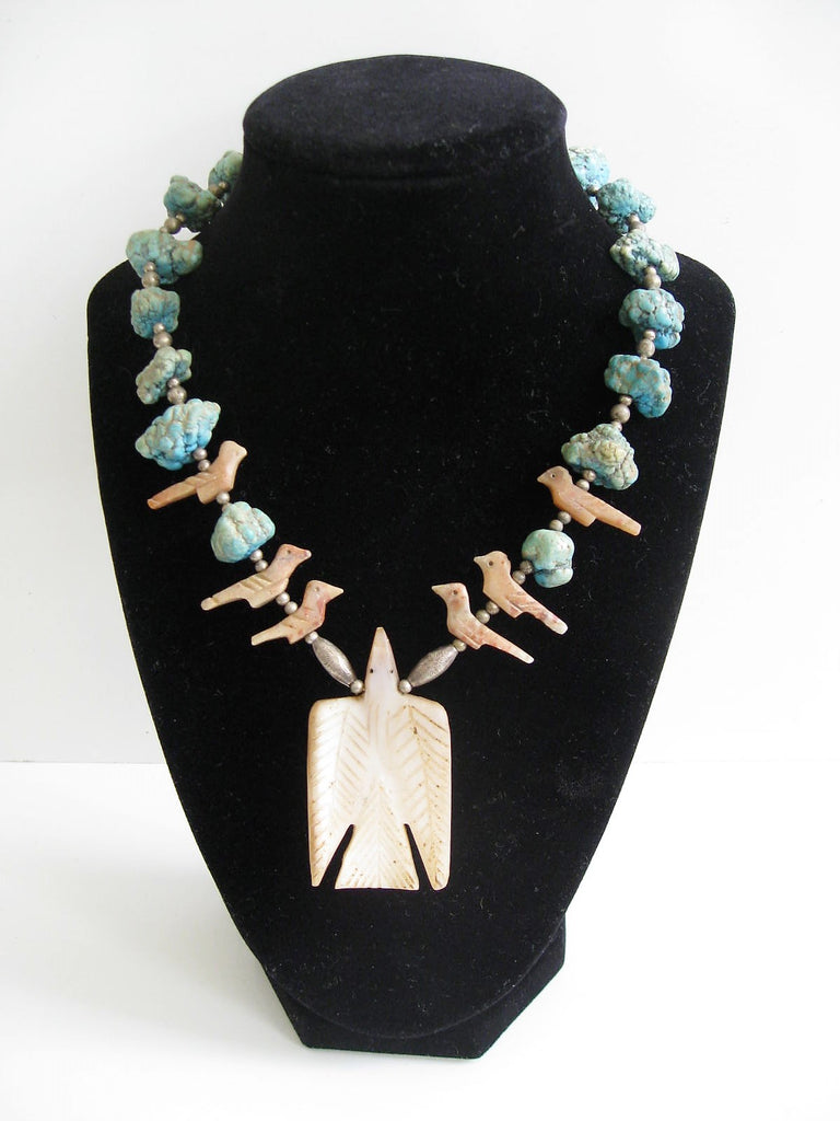 Vintage Native American Zuni Fetish Turquoise Nugget, Sterling Beads & Carved Bird Necklace