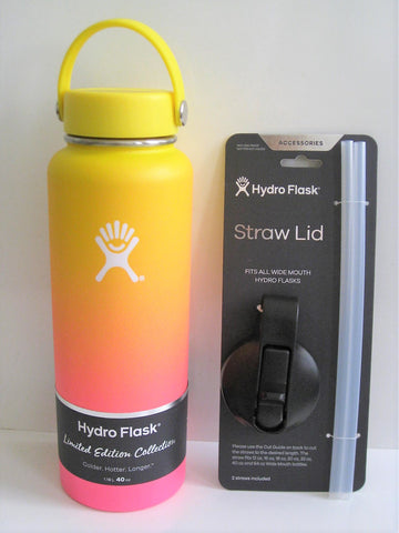Hydro Flask 40oz Wide Mouth Limited Edition W/Straw Lid - Sunset (Lemon/Flamingo)