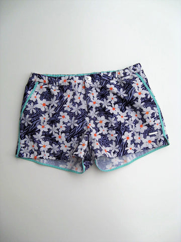Parke & Ronen Angeleno Plumeria Print Retro Swim Trunks Shorts 32