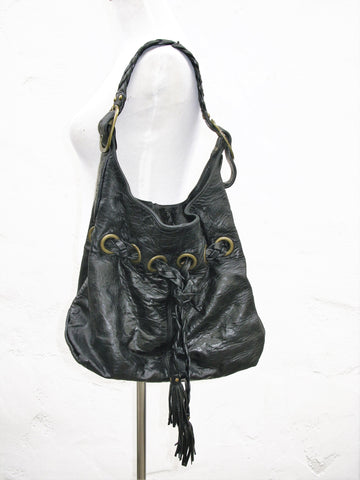 Kooba 'Carla' Crinkle Leather Hobo Braided & Tassel Shoulder Bag