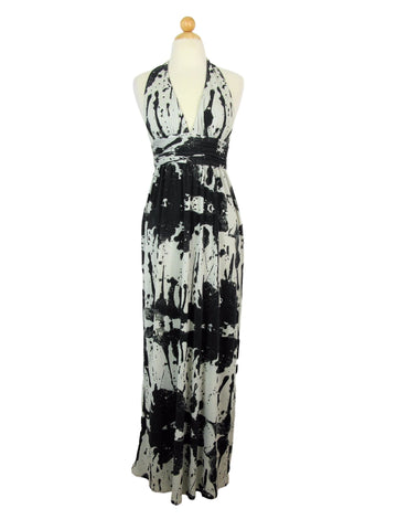 Alice & Olivia Silk Knit Jersey Ink Blotch Backless Halter Maxi Dress 4/6