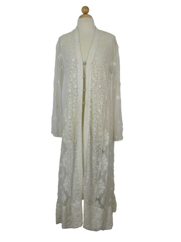Stunning Vintage Silk Chiffon Embroidered Sequin Robe Evening Cover-up M/L