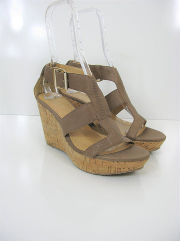 Nine West 'Entire' Caged Leather Cork Wedge Sandals 9 NWOB