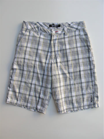 Rusty Grey with Yellow Plaid Bermuda Skater Shorts 32