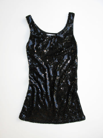Vivian Black Sequin Knit Jersey Long Tank Top S