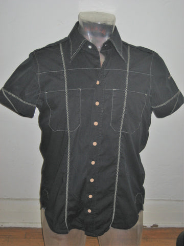 Diesel Night Riders Button Down Short Sleeve Embroidered Shirt S
